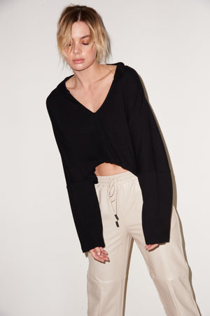 LNA Cropped Cape Top in Black
