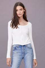 LNA Caterina Top with Button Front Detail in White Ivory