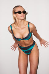 LNA Celine Underwire Top in Black and Green Tie Dye