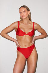 LNA Sorrento High Waist Bikini Bottom in Poppy