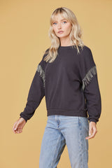 LNA Chain Fringe Sweatshirt in Black Limo