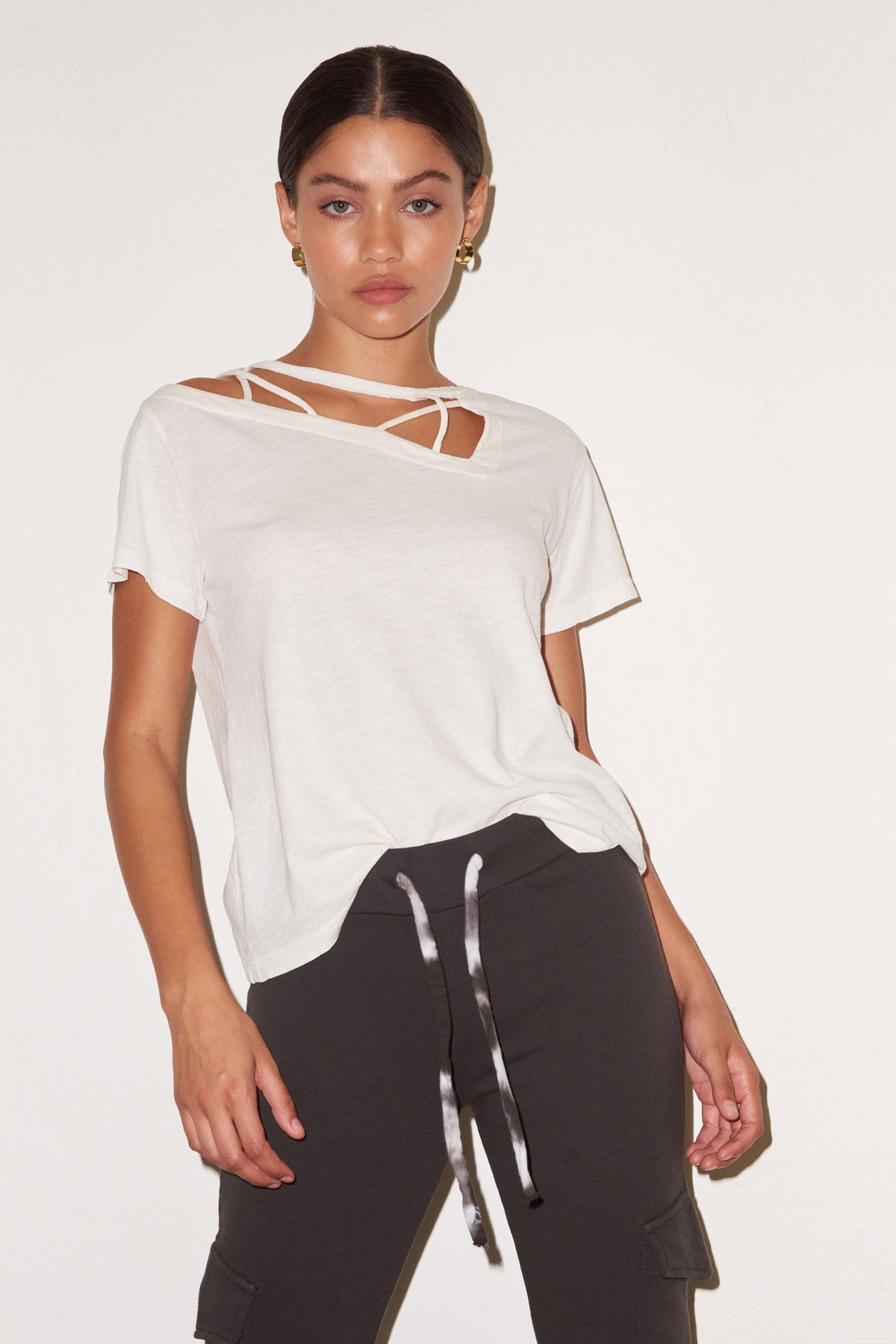 LNA Charlie Cutout Tee in Jet Stream