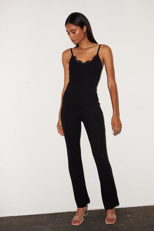 LNA Ribbed Charlotte Pant in Black