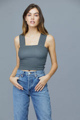 LNA Valley Crop Top in Checker Print