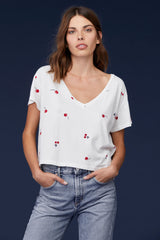 LNA Cherry Print V Neck Tee