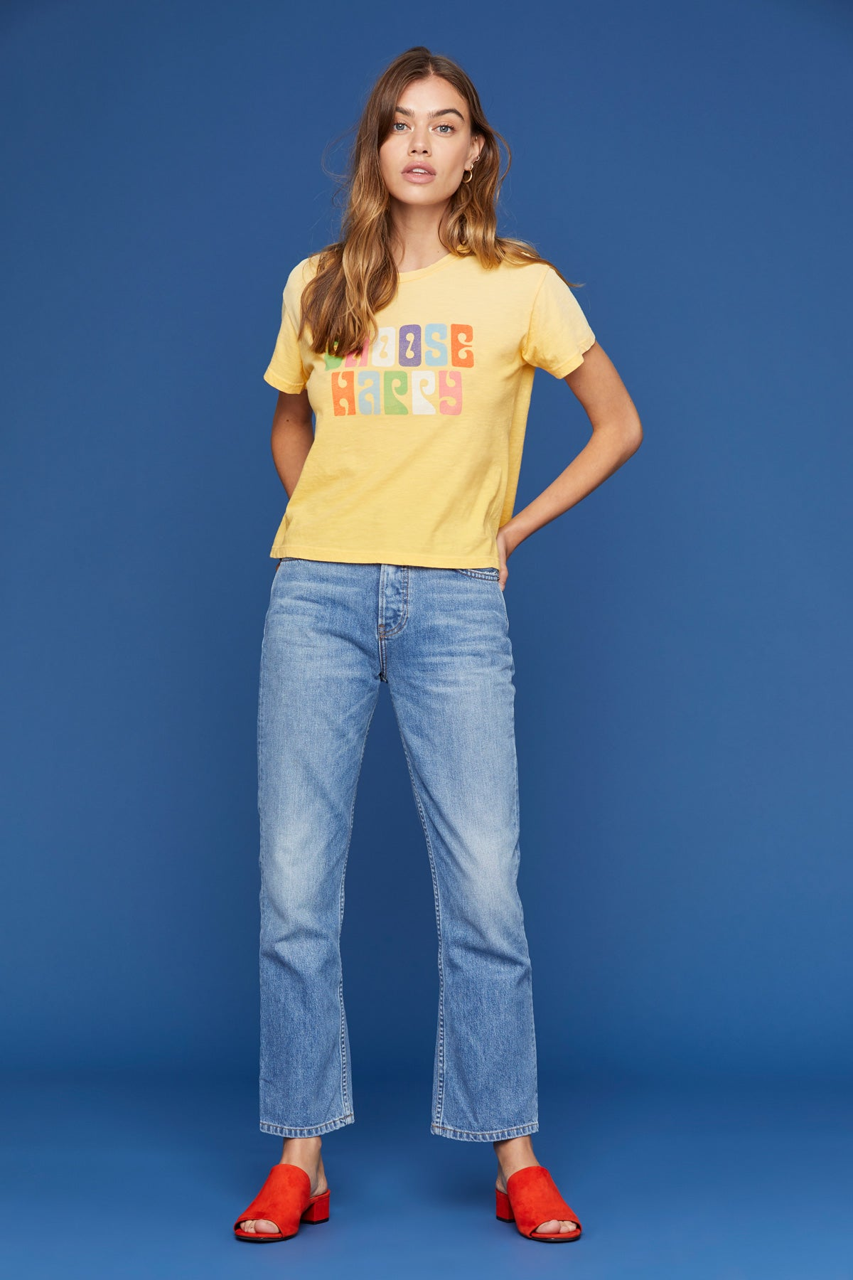 LNA Choose Happy Graphic Tee in Spectra Potassium