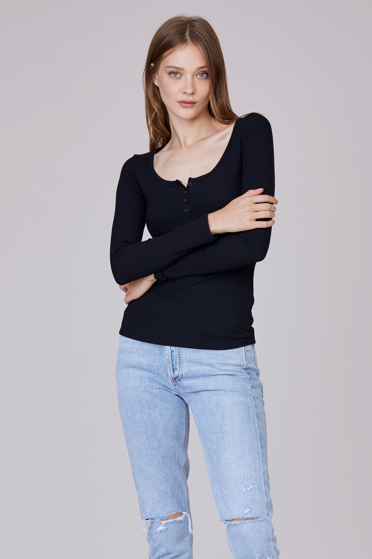 LNA Chiselle Ribbed Henley Top in Black