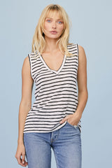 LNA Clothing Striped Clara Tank with back cutout