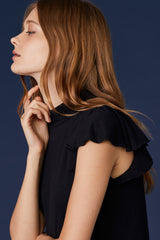 LNA Clement Ruffle Sleeve Tank in Black
