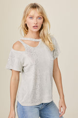 LNA Clothing Double Cutout Snakeskin Print Tee
