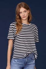 LNA Relaxed Stripe Tee in Black and White