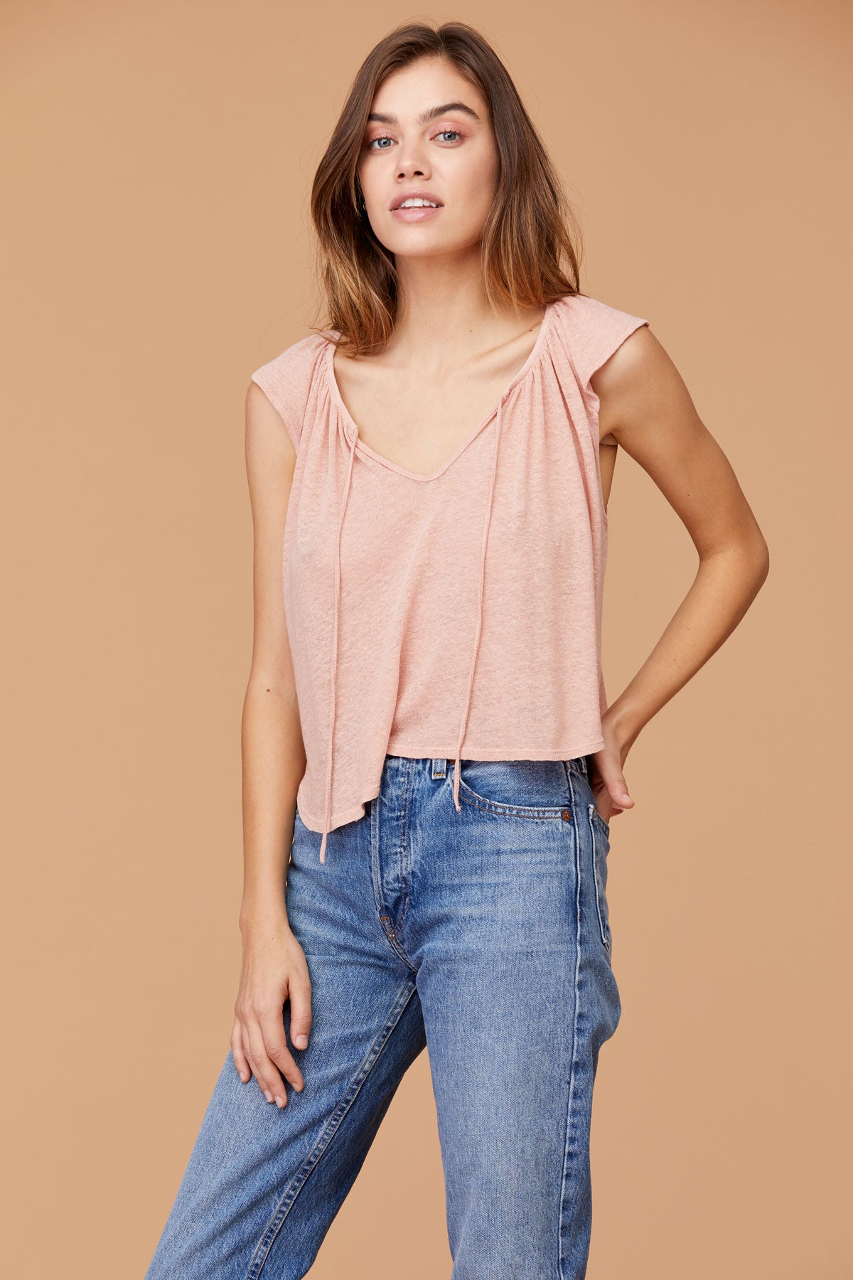 LNA Clover Top with Flutter Sleeve in Cafe Cream