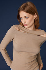 LNA Clyde Slub Cutout Sweater in Heathered Taupe