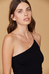 LNA Conner Top in black with asymmetrical strap