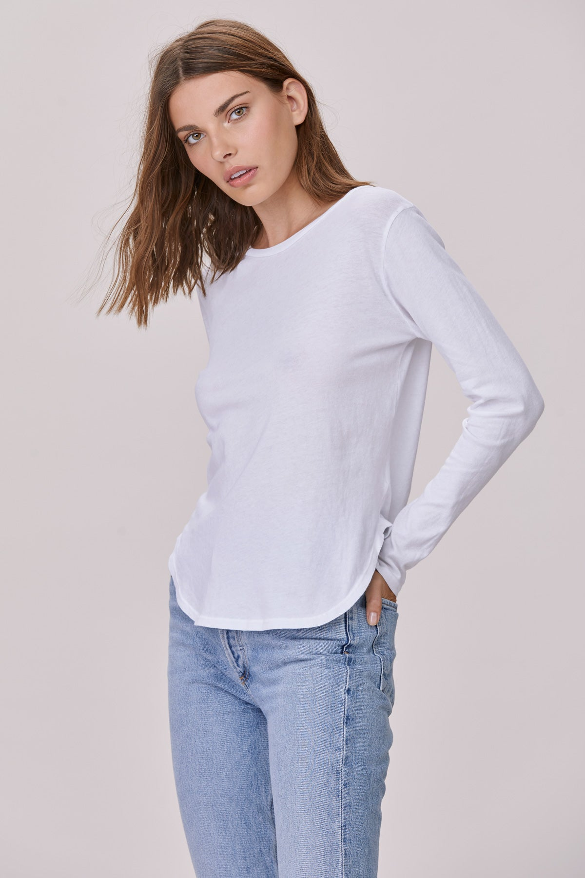 0f750ee155aced ... LNA White Cotton Long Sleeve Curved Crew Neck Tee ...