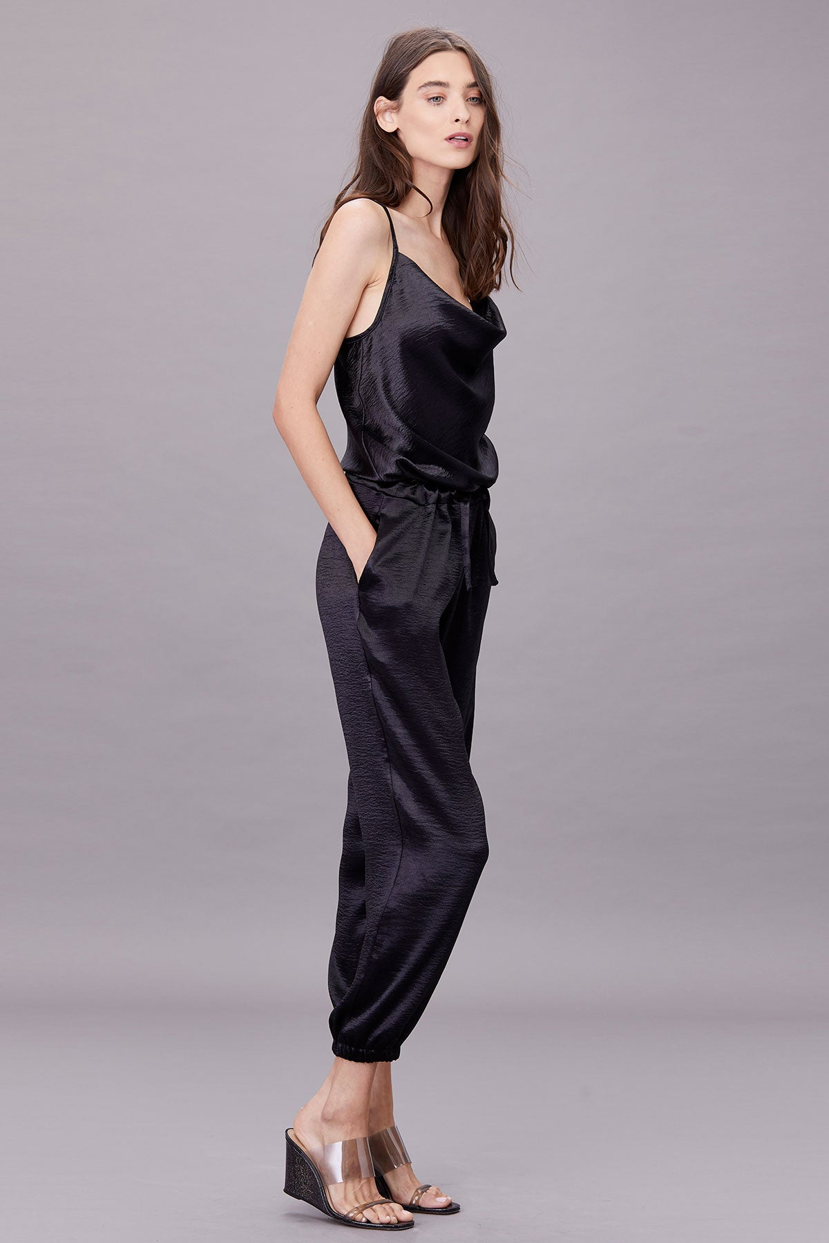 LNA Cowl Neck Cami Jumpsuit in Black