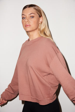 LNA Cropped Terry Sweatshirt In Clove Pink