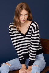 LNA Crop V Alpaca Striped Sweater