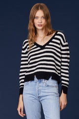 LNA Cropped V Alpaca Striped Sweater
