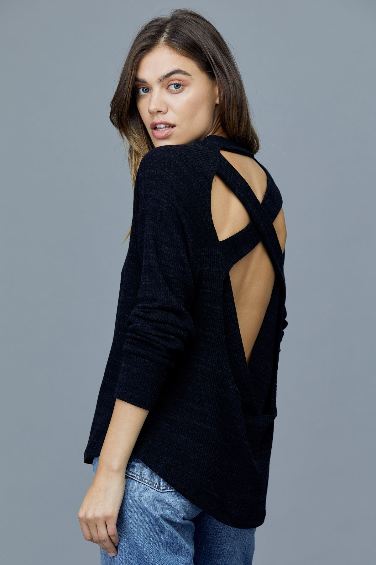 LNA Francis Cross Back Slub Sweater in Black Heather