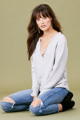 Crossed Over Sweatshirt - Heather Grey