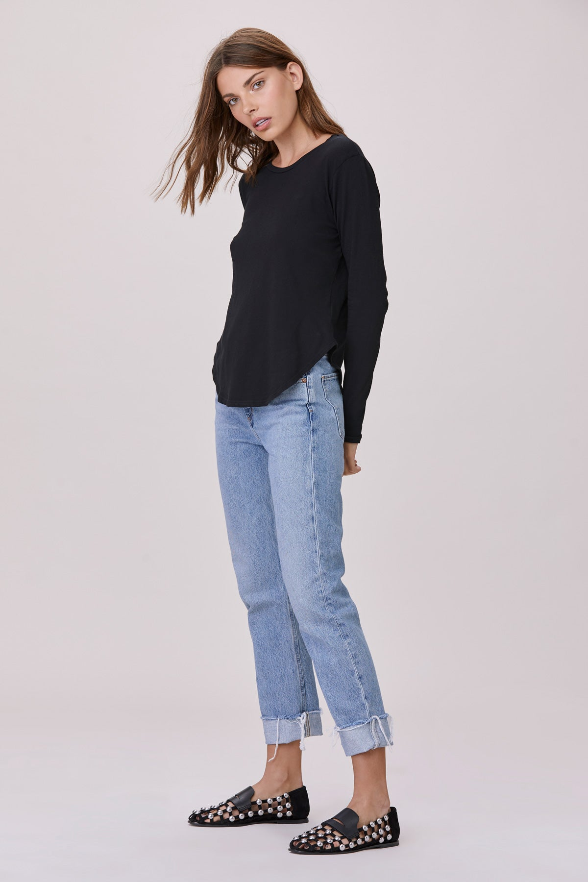 LNA Black Curved Crew Neck Long Sleeve Tee