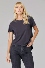 LNA Clothing Curved Tee shirt in grey stretch limo