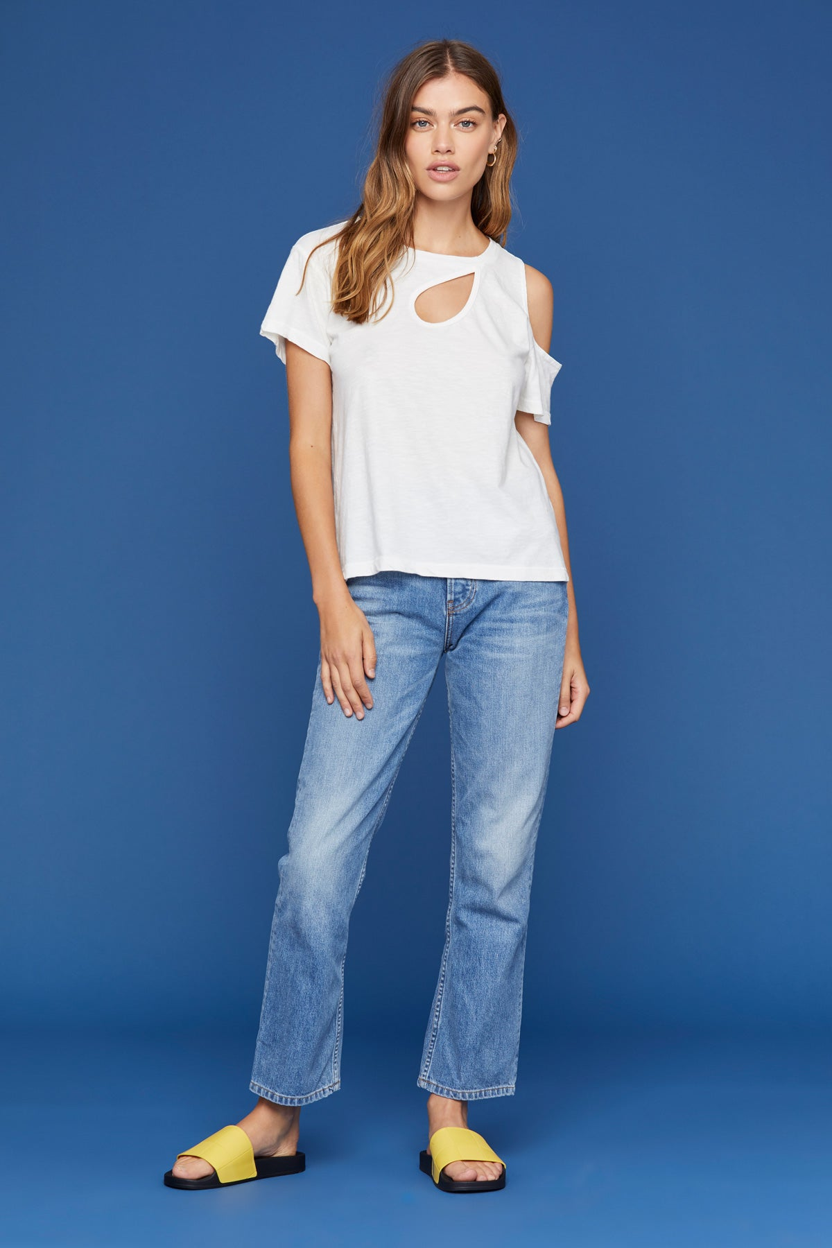 LNA Claire Cutout Tee in Lily White