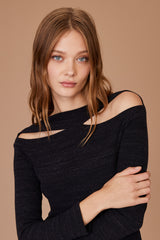 LNA Clyde Sweater with cutouts in black