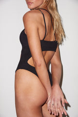 LNA Black Cutout Monokini One Piece Swimsuit