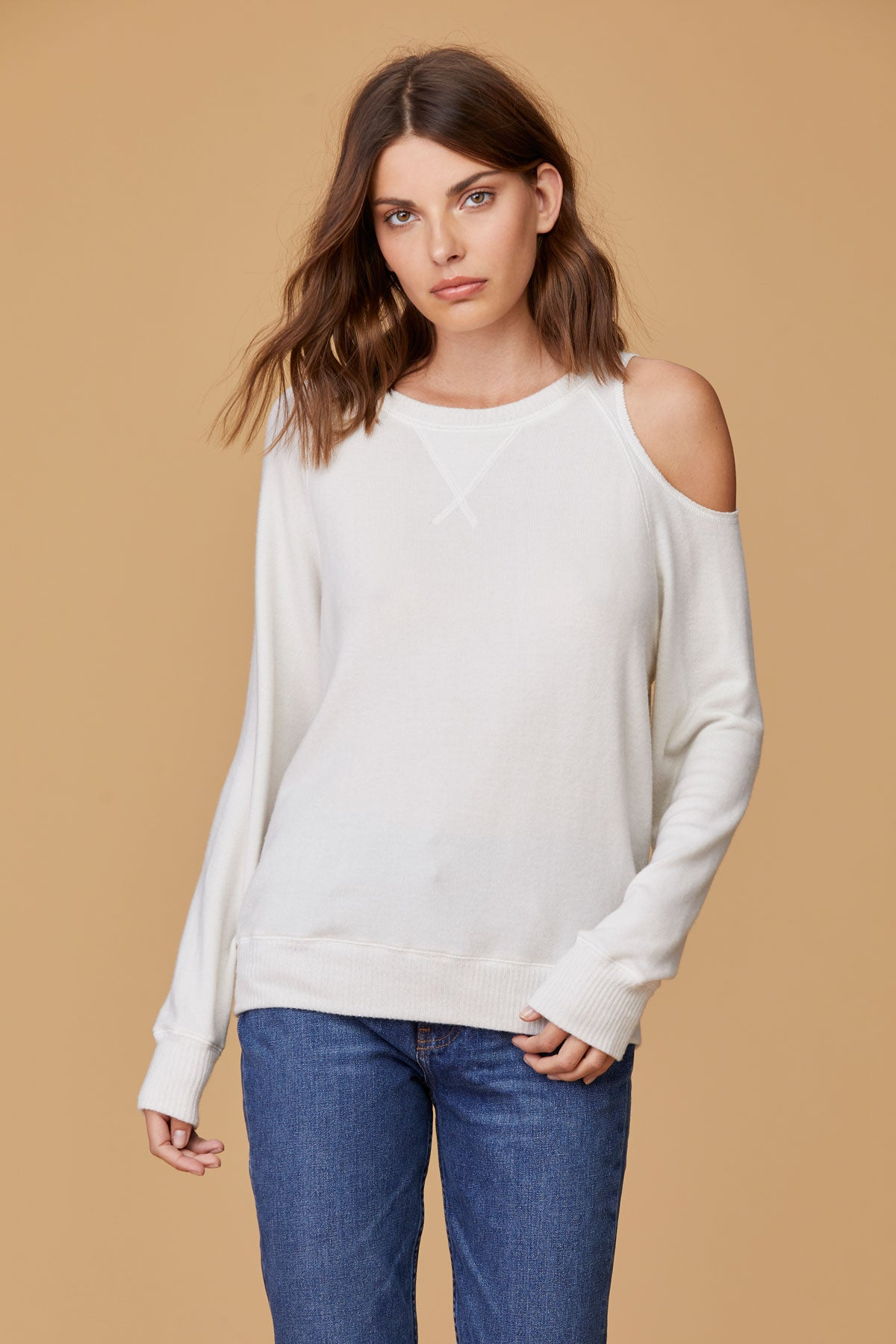LNA Brushed Heart on My Sleeve Cutout Sweater in cream