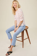 LNA Danny Rib Top in Red and White Stripe