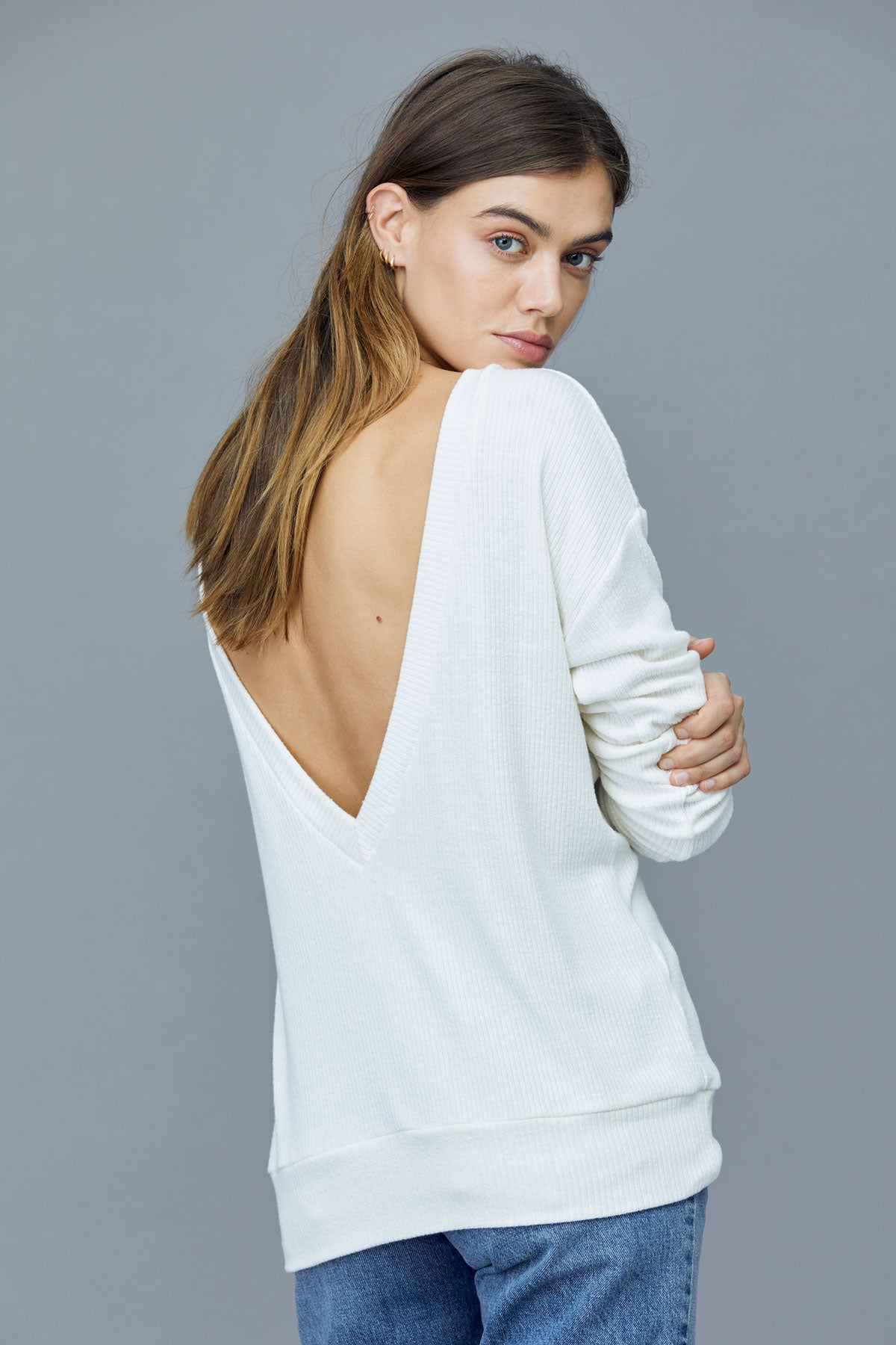 LNA Darien Open Back Slub Sweater in Jet Stream