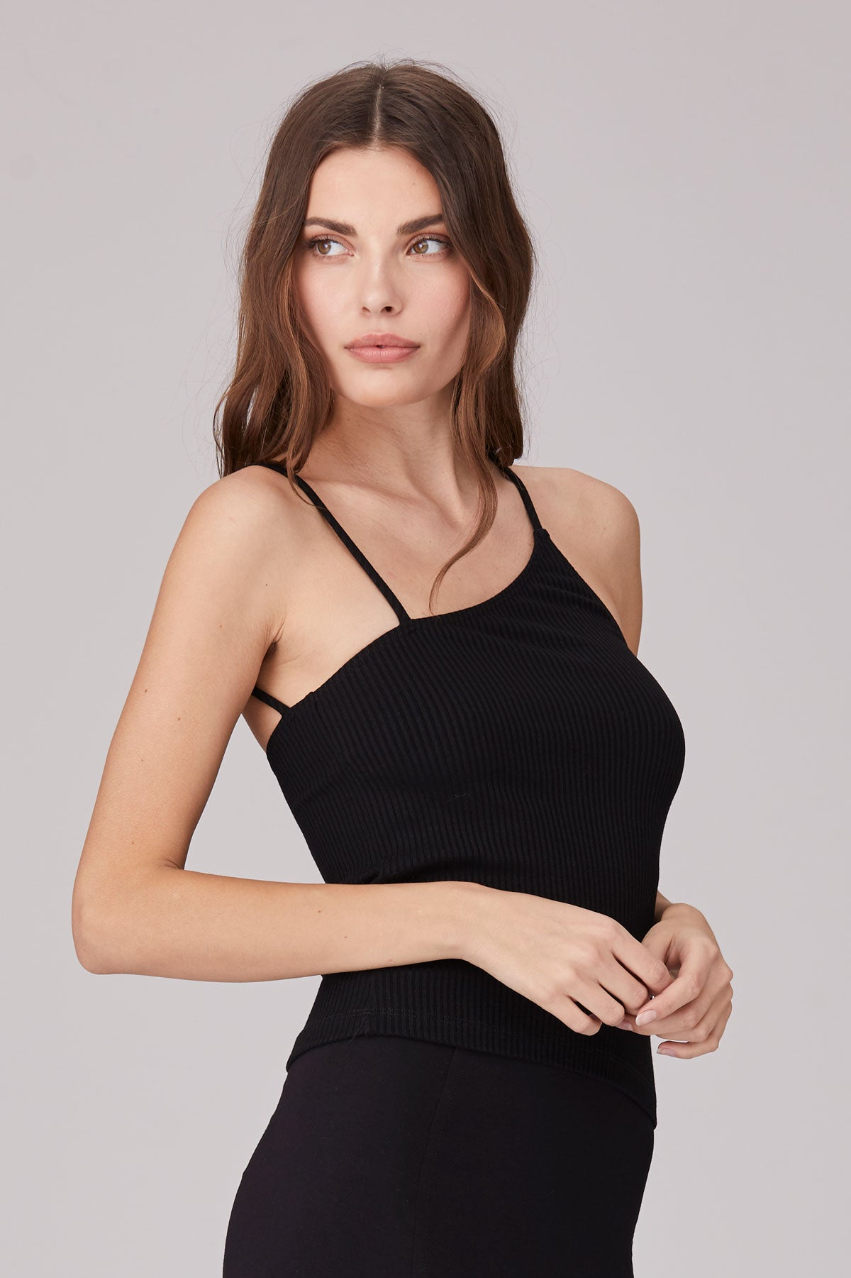 LNA Darya Rib Asymmetrical Strappy Cami in Black