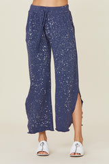 LNA Navy Splatter Cropped Sweat Pant