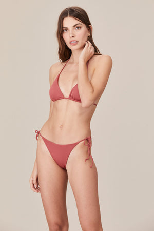 LNA Swim Sia String Bikini Bottom in Desert Rose