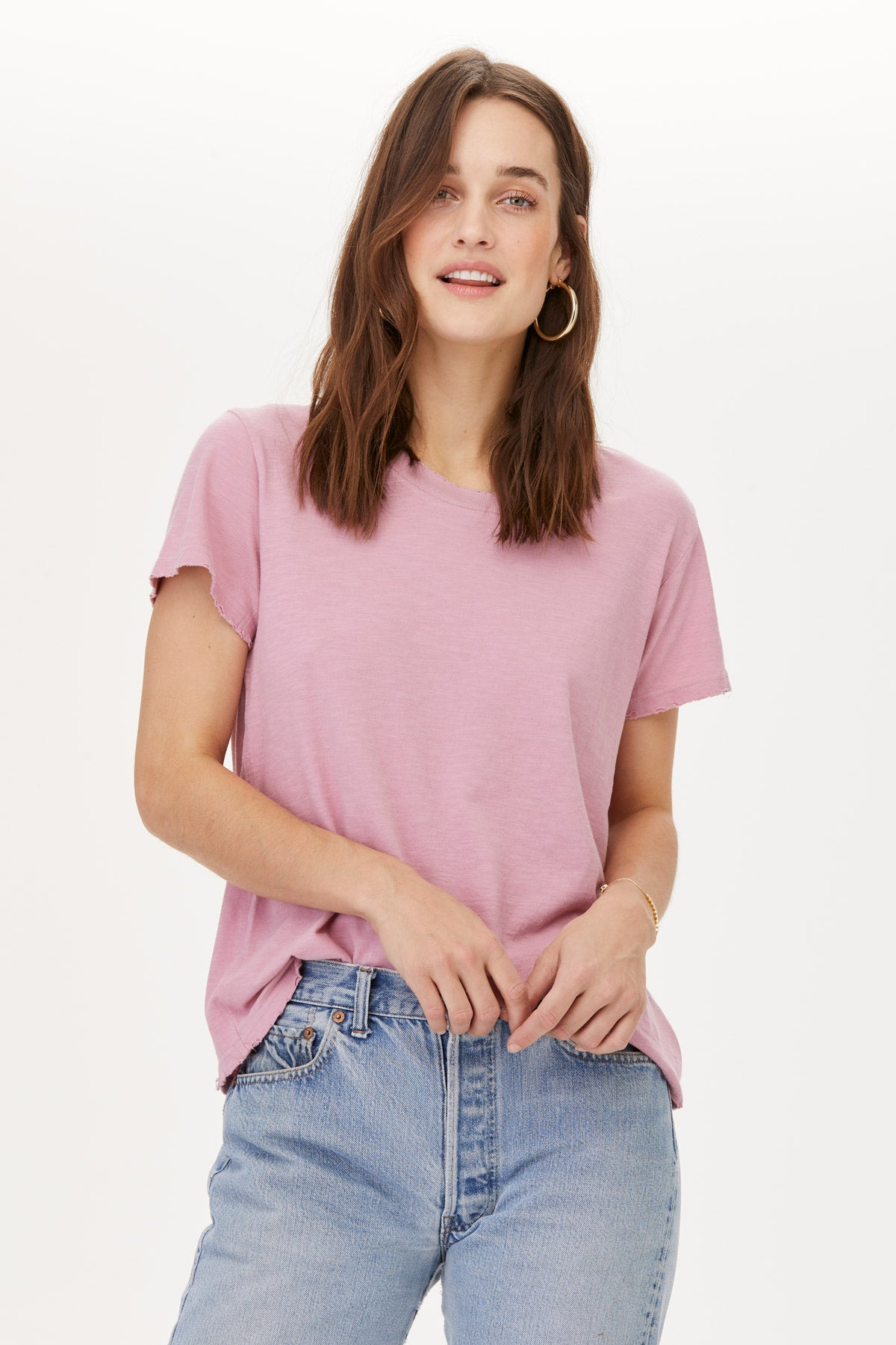LNA Fox Glow Pink Distressed Tee