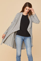 Brushed Diverge Cardigan - Heather Grey Stripe