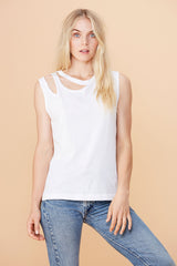 Double Cut Tank - White