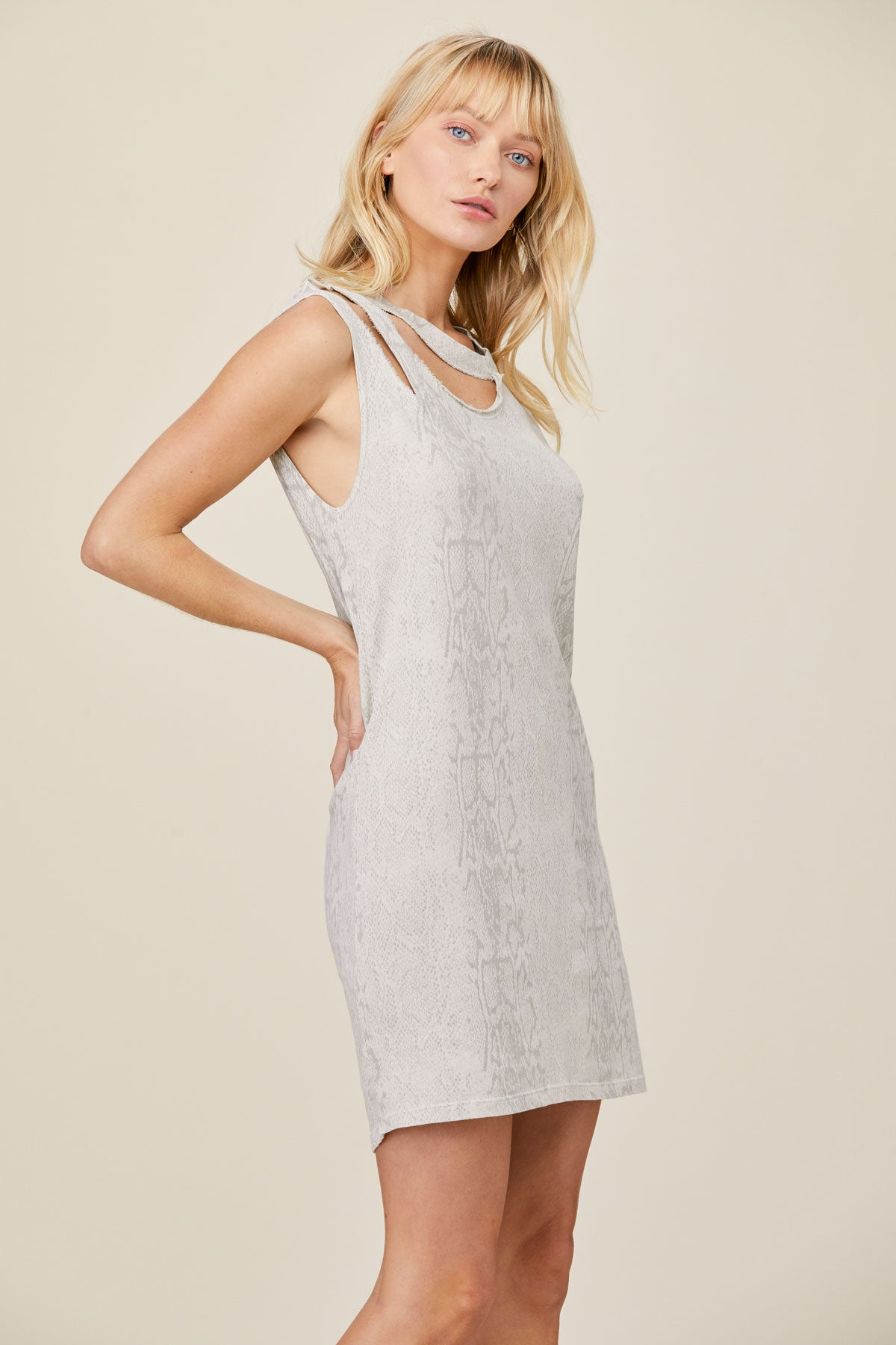 LNA Clothing Snakeskin Print Double Cutout Dress
