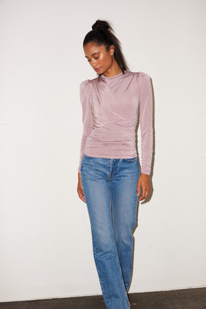 LNA Long Sleeve Cannon Top in Mauve