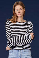 LNA Drop Shoulder Long Sleeve Striped Top