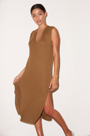 LNA Easy Rib Tank Dress in Olive Khaki