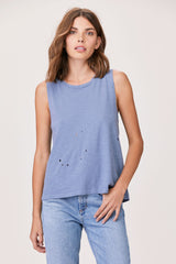 LNA Elijah Distressed Sleeveless Tank in Flint Stone Blue