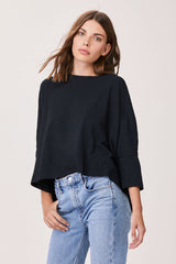 LNA Essential Cotton Cape Tee in Black