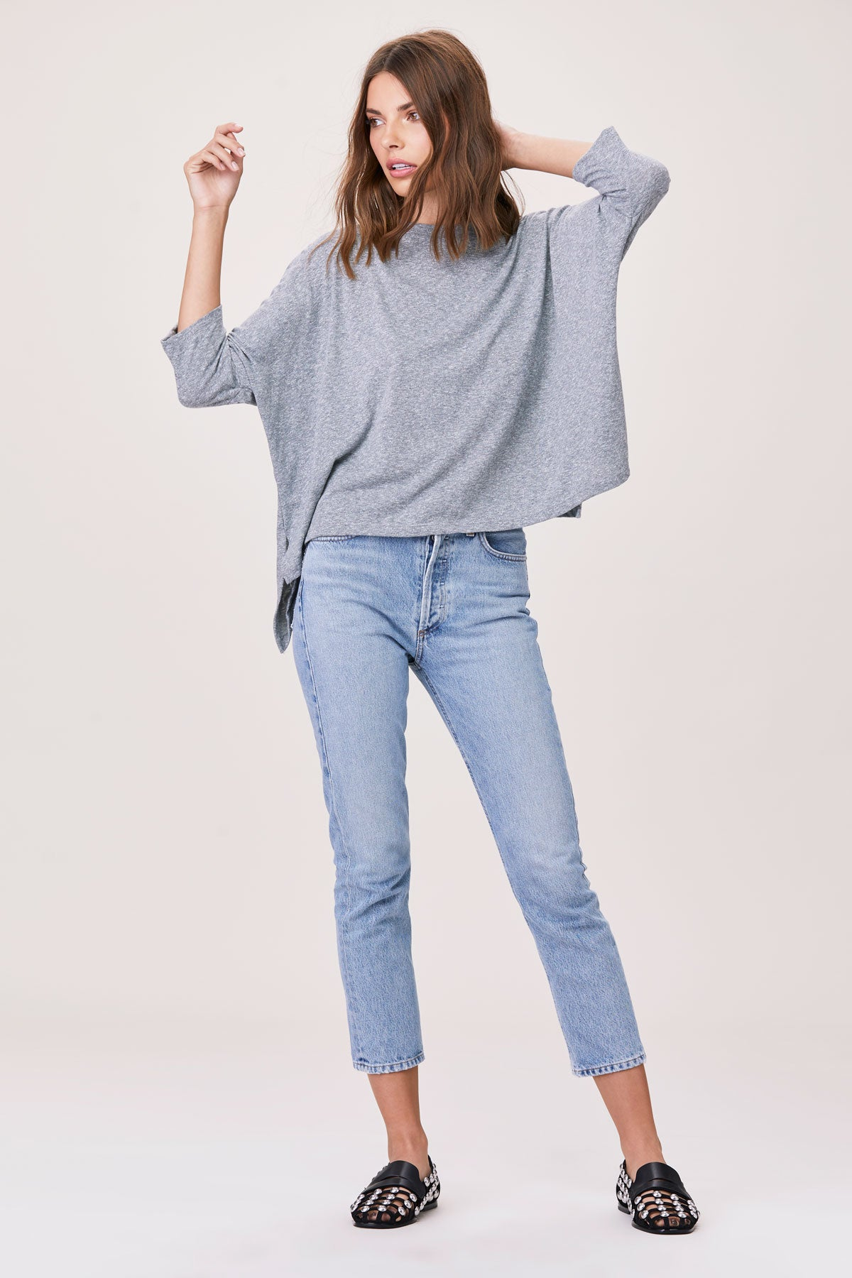 LNA Essential Cape Tee in Grey Tri Blend Cotton