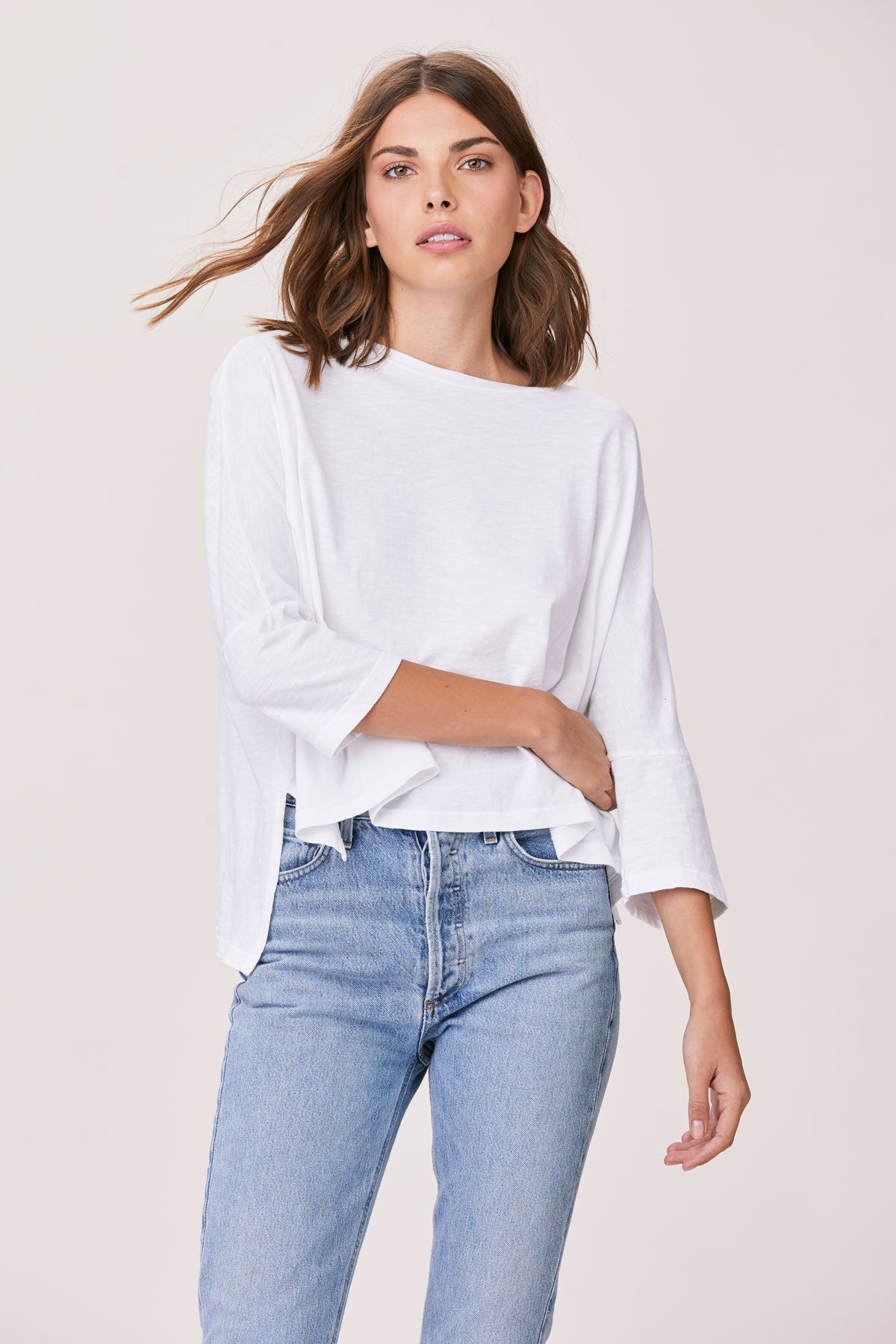 LNA Essential Cotton Cape Tee in White