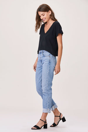 LNA Essential Sparks V Neck Cropped Tee in Black