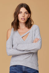 LNA Fallen Rib Cutout Sweater in Heather Grey