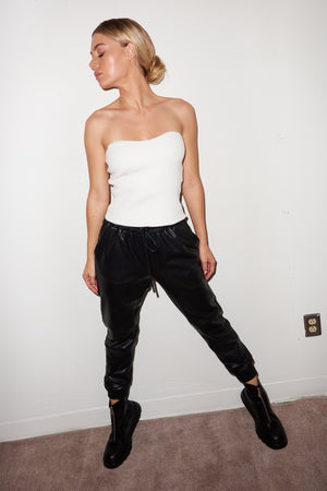 LNA Black Faux Leather Jogger